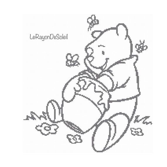 570x570 Cross Stitch Pattern Winnie The Pooh Honey Lover Bear Bees Disney