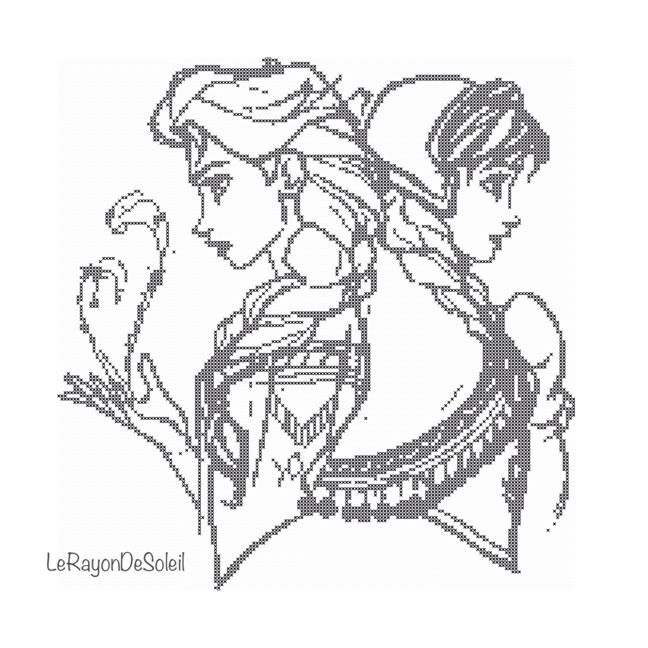 1296x1296 Cross Stitch Pattern Sister Elsa And Anna From Frozen Sketched