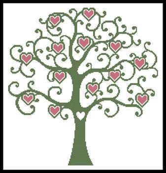337x350 Heart Tree Cross Stitch Pattern