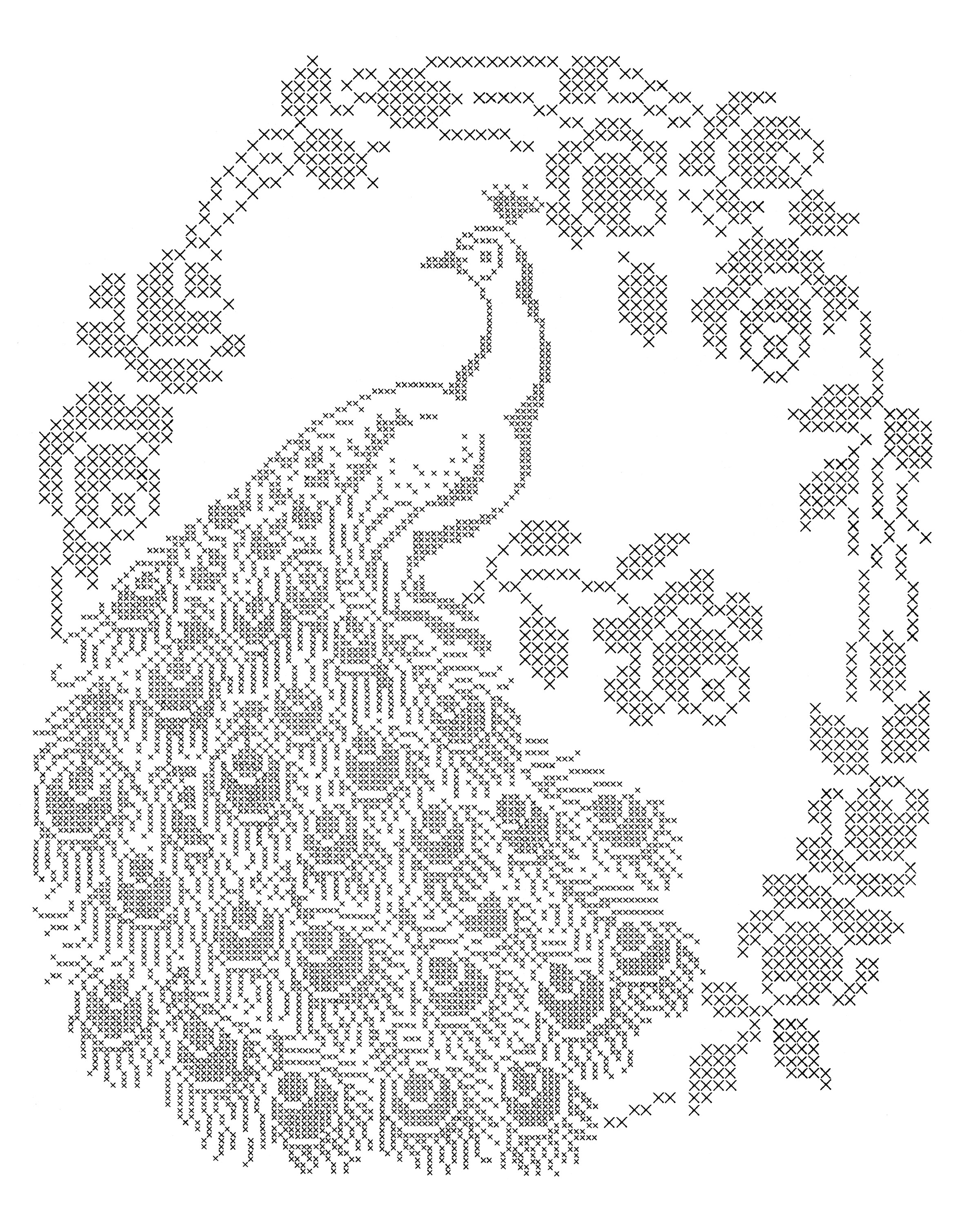 2400x3000 Laura Wheeler Design 688 Cross Stitch Peacock Q Is For Quilter