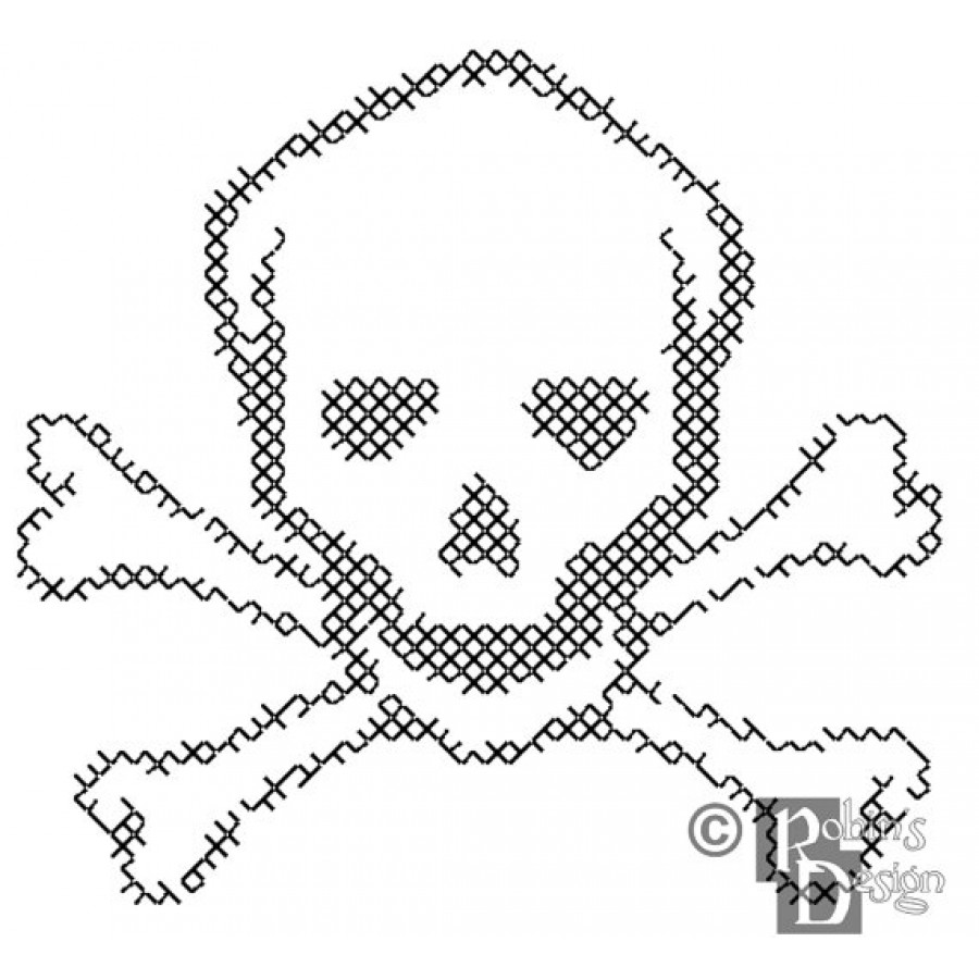 900x900 And Crossbones For Shirt Patch Cross Stitch Pattern Pdf
