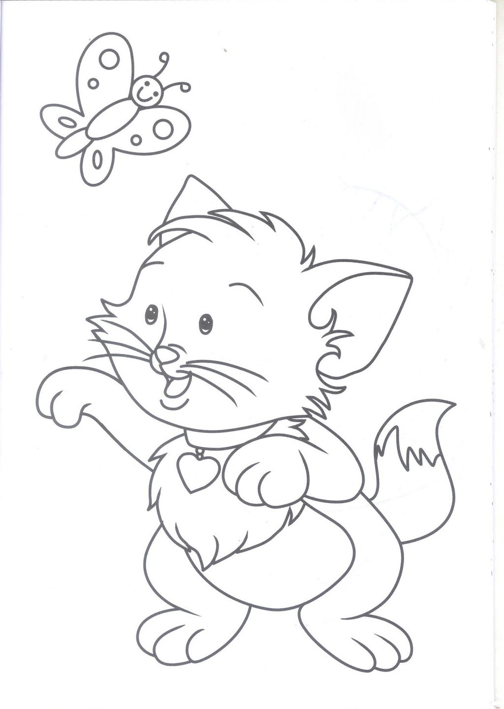 1024x1441 Coloring Coloring Color Kittens Book Drawn Pencil And