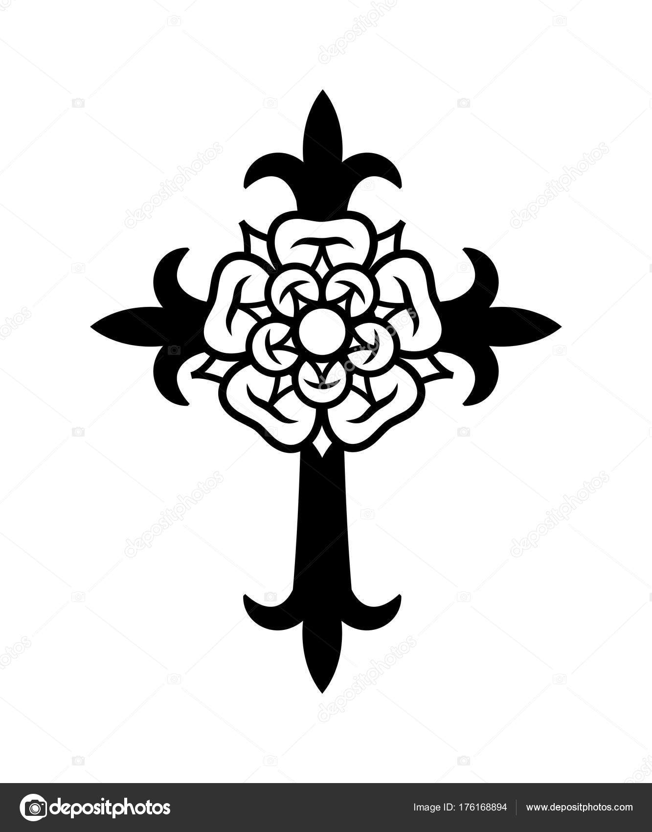 1333x1700 Rosenkreuz (Cross With Rose) Stock Vector Photon