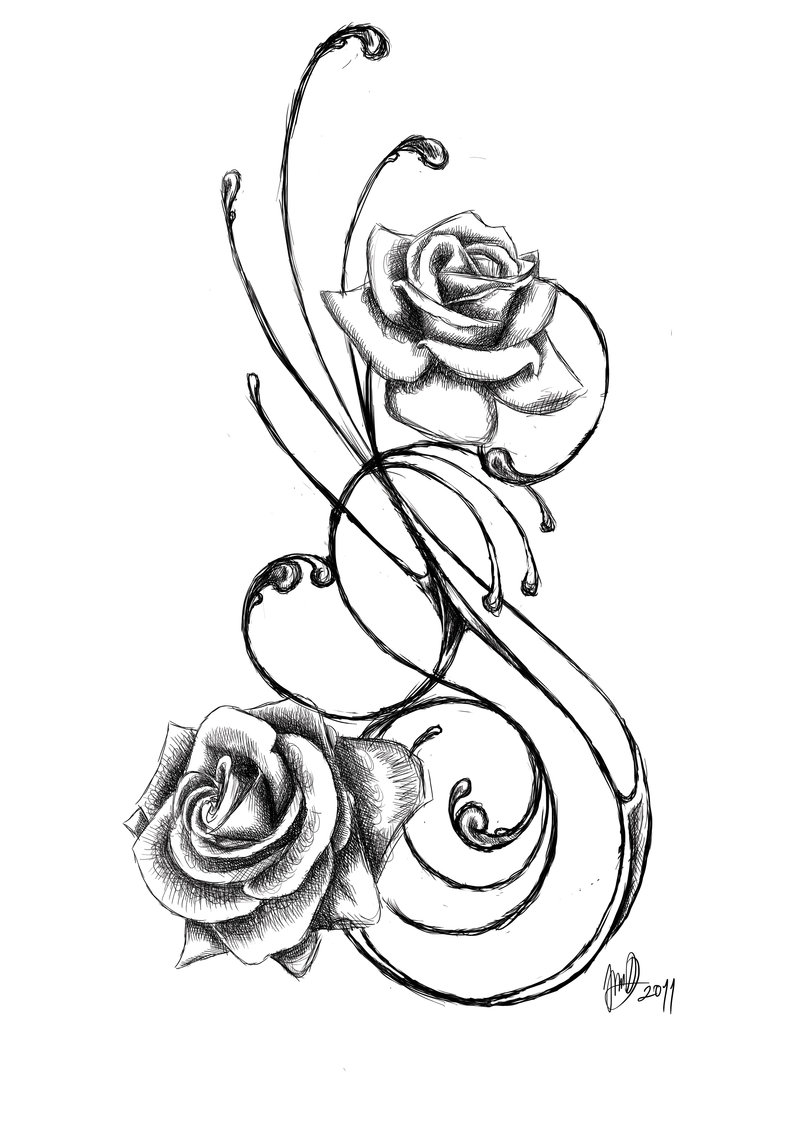 800x1131 Collection Of Rose Around The Cross Tattoo On Shoulder Back