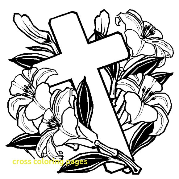 580x580 Cross Coloring Pages With Rose Cross Coloring Page Amp Coloring Book