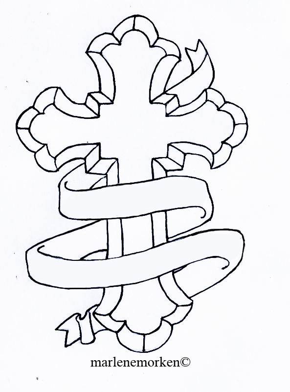 593x801 Cross Tattoo Design With His Son Placed On Inside Right Hand