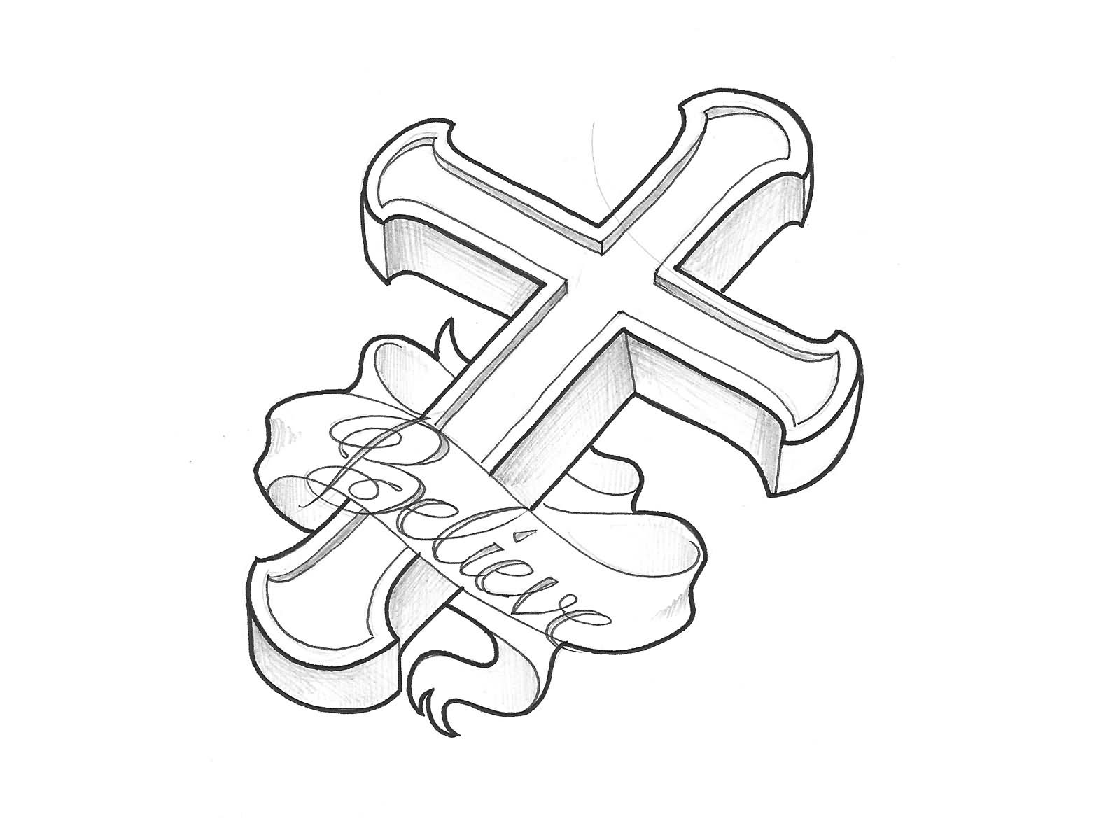 1600x1200 Religious Black 3d Cross With Banner Tattoo Stencil