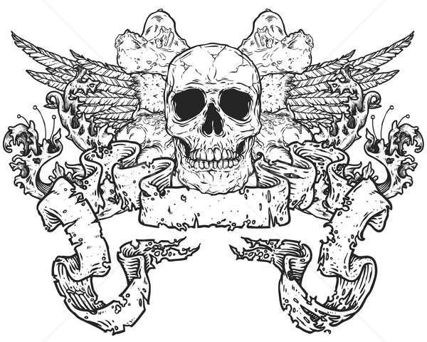 600x480 Skull With Wings Cross Bones And Scroll Banner Stock Photo Thye