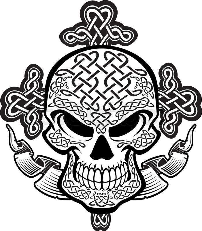 701x800 Skull With Celtic Knot Pattern, Cross And Banner Stock Vector
