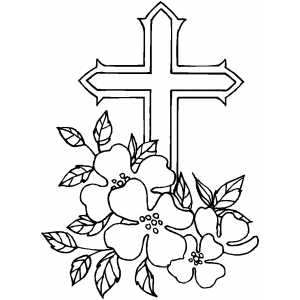 300x300 Cross And Flowers Coloring Page