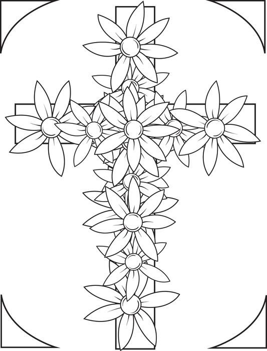 533x700 Cross With Flowers Coloring Page Adult And