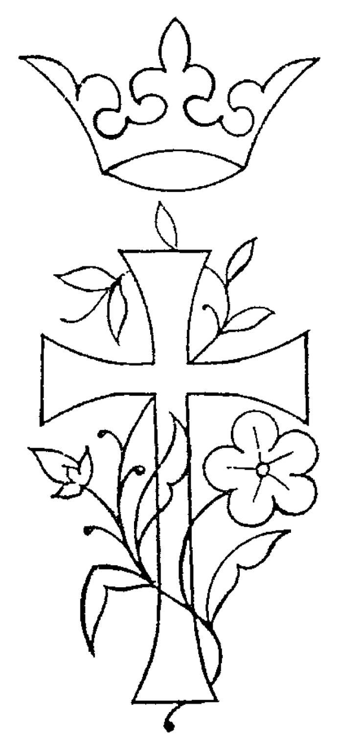 Cross With Flowers Drawing_