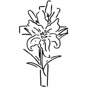300x300 Cross And Flower Coloring Page