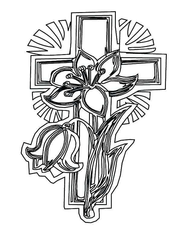 600x777 Cross Color Pages Cross Coloring Pages And Flowers Celtic Cross