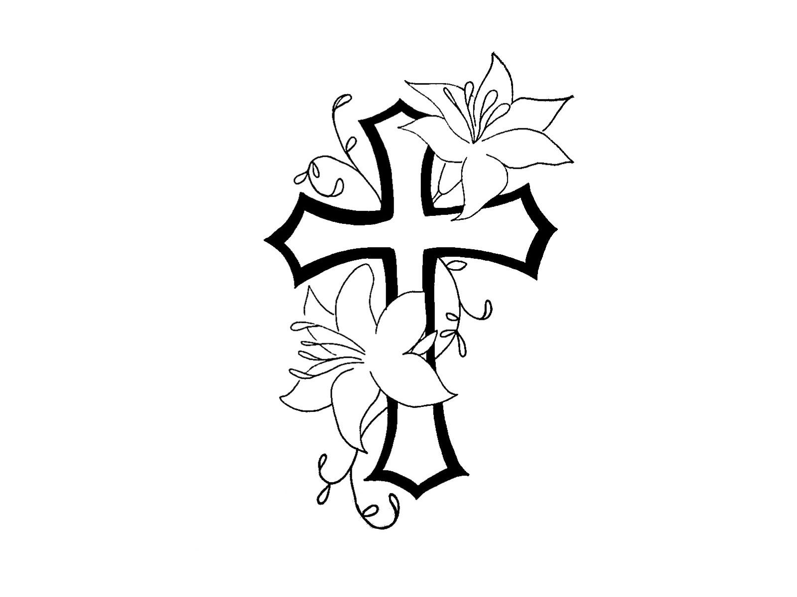 1600x1200 Cross With Flowers Tattoo Cross Flower Tattoo Tattoo Collection