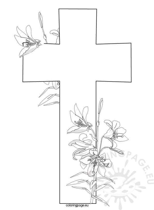 595x808 Cross And Flowers Coloring Page