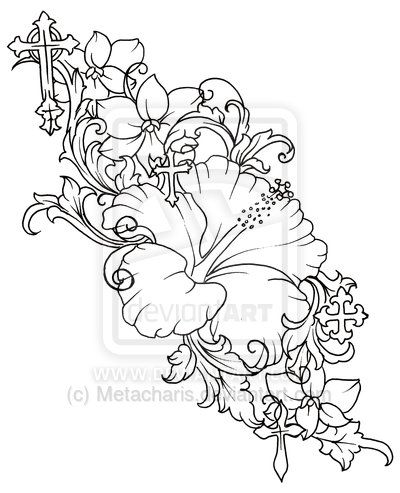 400x493 Flower Tattoos Hibiscus Flower Drawing Cross And Flower Tattoo