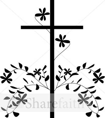 344x388 Black Cross And Flower Cross Clipart