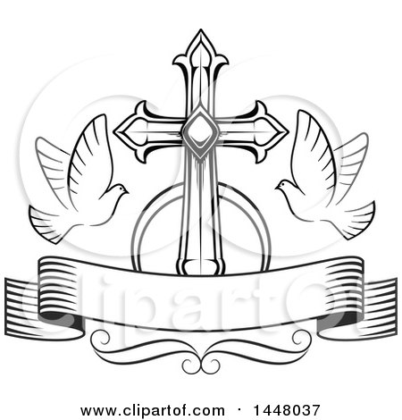 450x470 Clipart Of A Black And White Easter Cross With Doves And A Blank