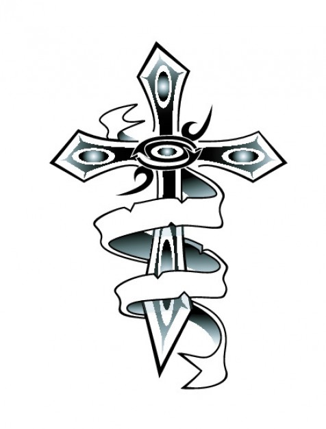 476x626 Cross Surrounded By A Ribbon Vector Free Download