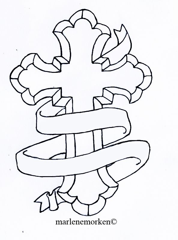 593x801 31 Best Cross Outline Tattoo Designs Images On Cross