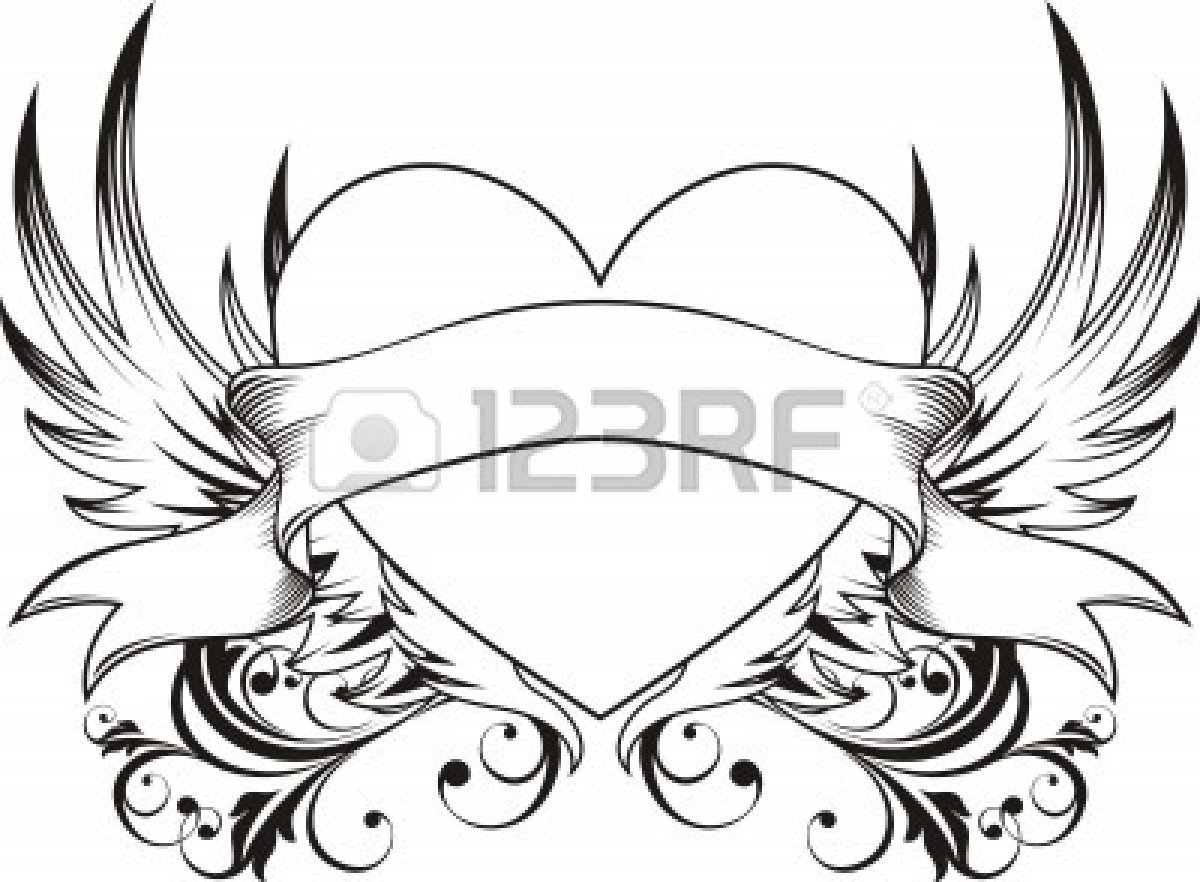 1200x882 Heart With Ribbon Drawings In Pencil