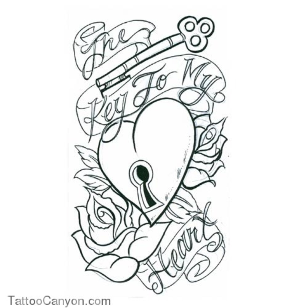 1024x1024 Download Heart Tattoo Coloring Pages