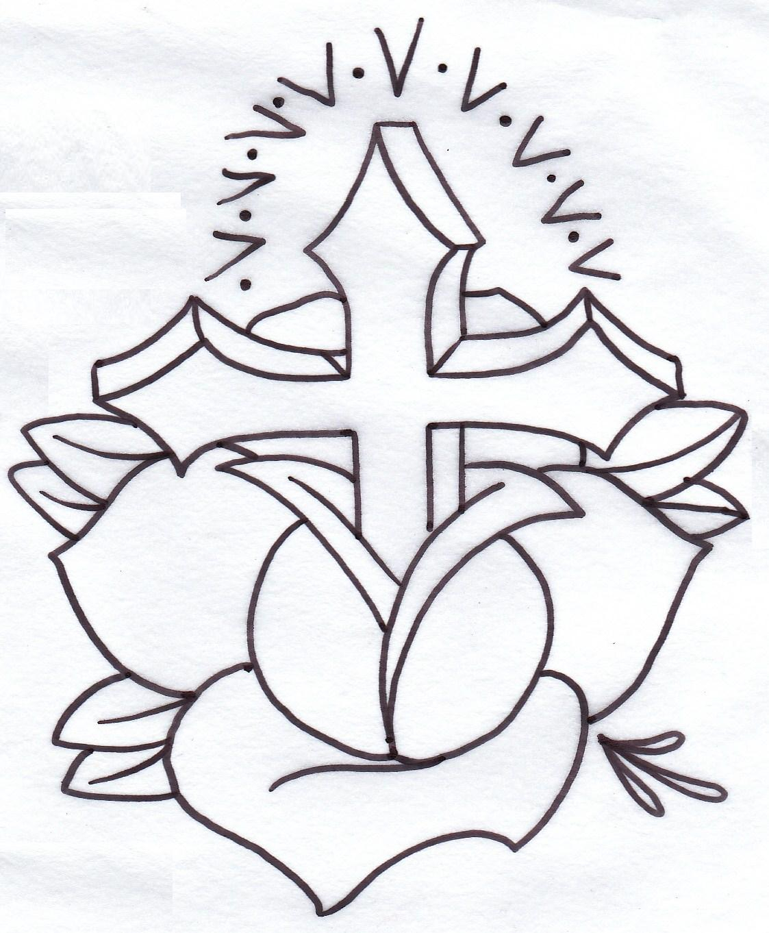 1123x1362 Drawings Of Crosses With Roses Draw A Rose And Cross For Tattoo