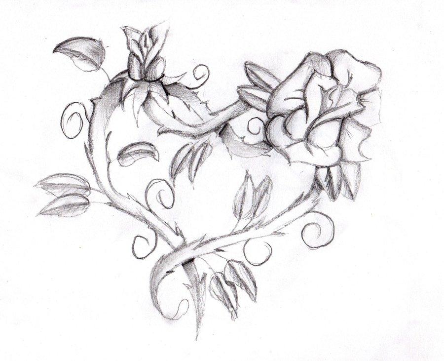 900x731 Heart Rose By Feeohnah