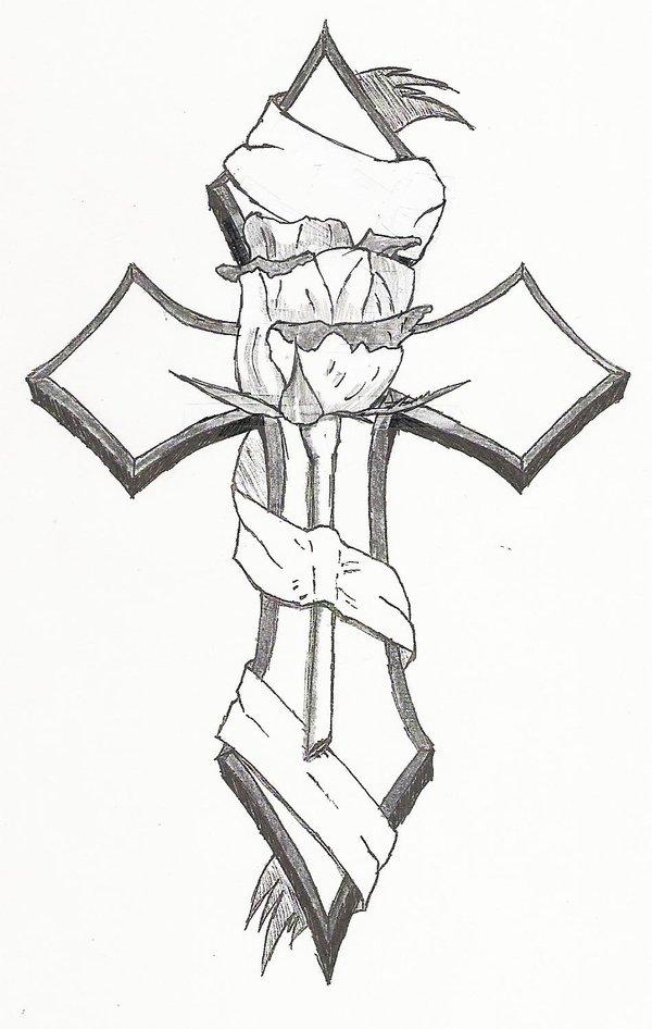 600x946 Black And Grey Rose In Cross Tattoo Design By Fallingdagger99