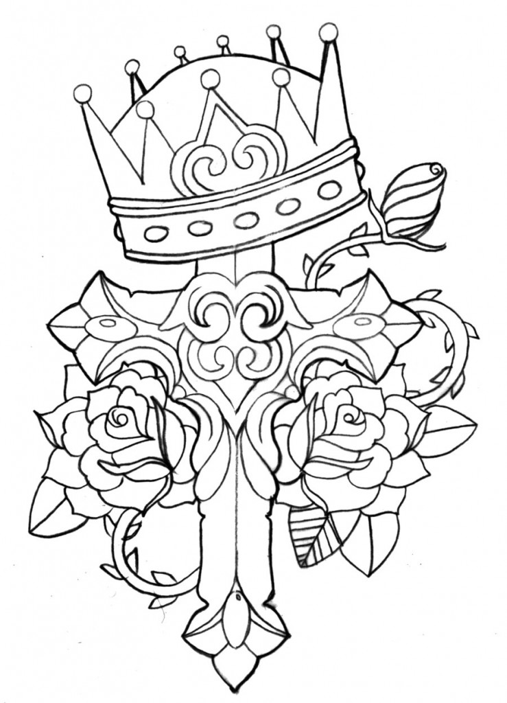 739x1024 Rose Drawing Tattoo With A Cross Images Line Drawings