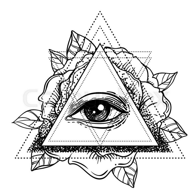 800x800 Rosicrucianism Symbol. Blackwork Tattoo Flash. All Seeing Eye