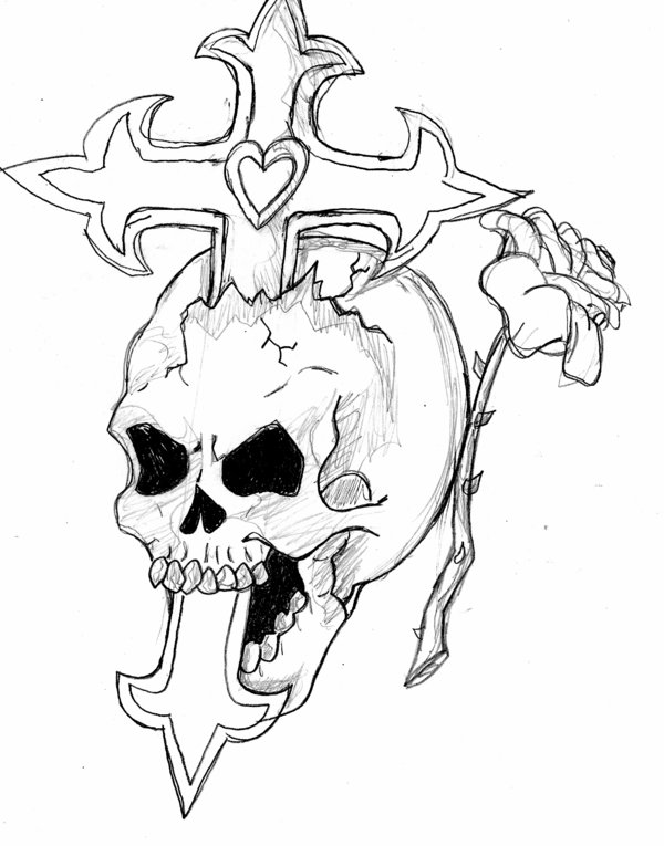 600x765 Skull,cross,and Rose By Haze510