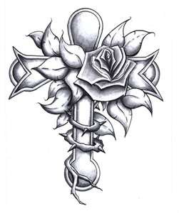 251x300 A Cross With A Rose By Lillyesama