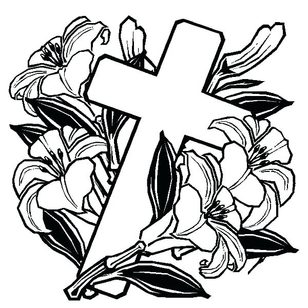 600x600 Cross Color Pages Coloring Page On Rose Pag