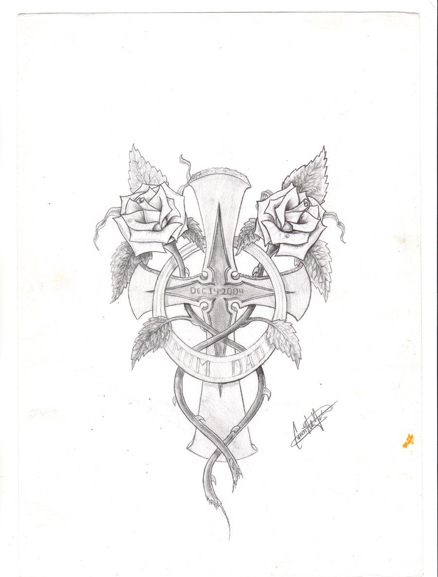 900x1185 Cross Tattoo Two Roses By Massermane