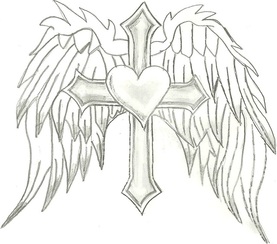 900x794 Cross,heart, Angel Wings By 86janetj