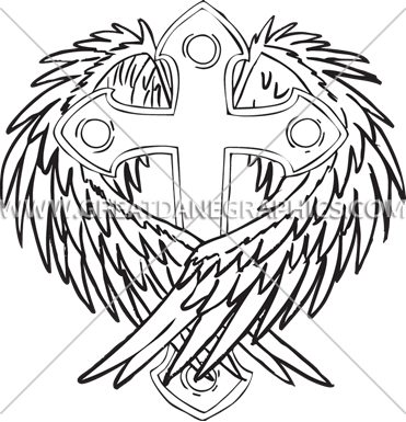 371x385 Cross With Wings Production Ready Artwork For T Shirt Printing