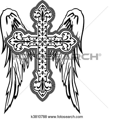 450x470 Cross With Wings Clipart
