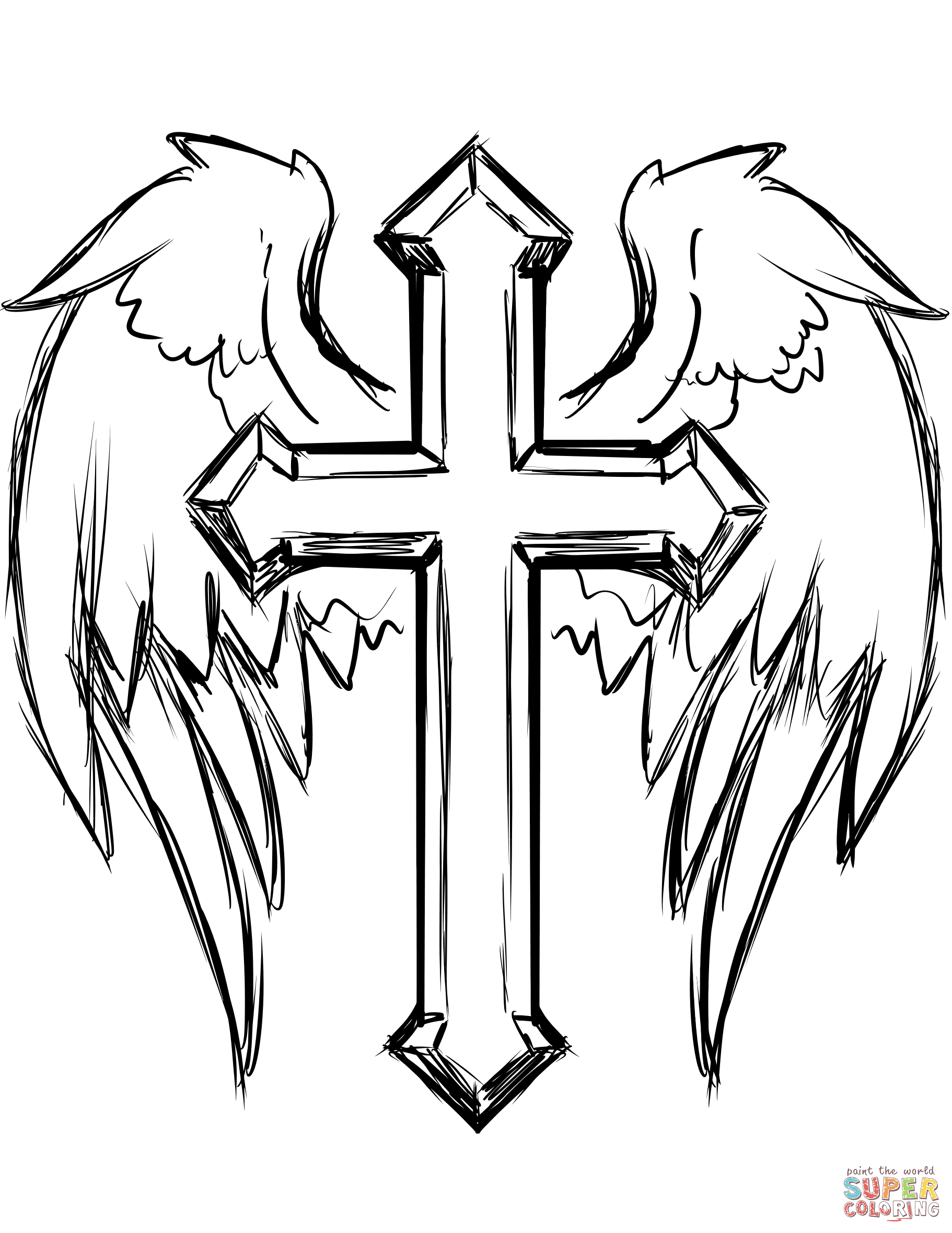1822x2358 Cross With Wings Coloring Page Free Printable Coloring Pages