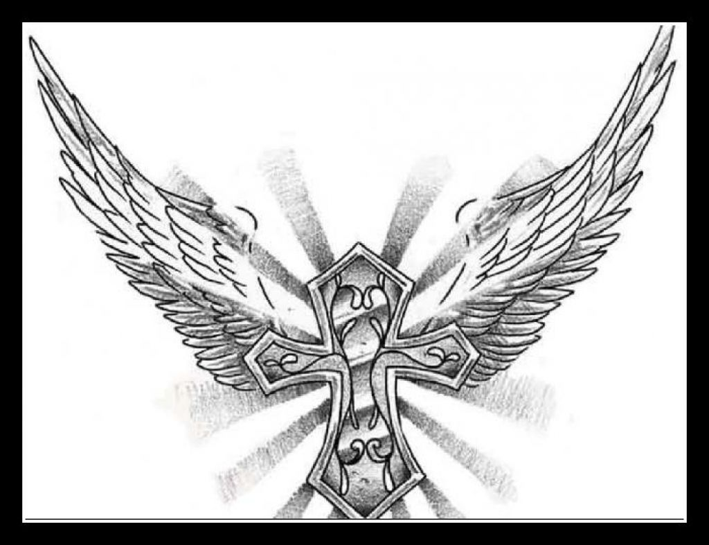 1024x787 Angel Wings Cross Tattoo