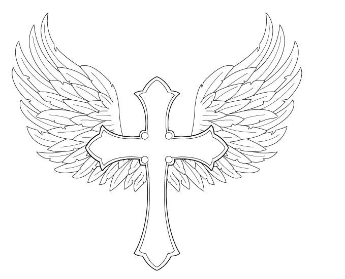 679x551 Angel Wings With Cross By