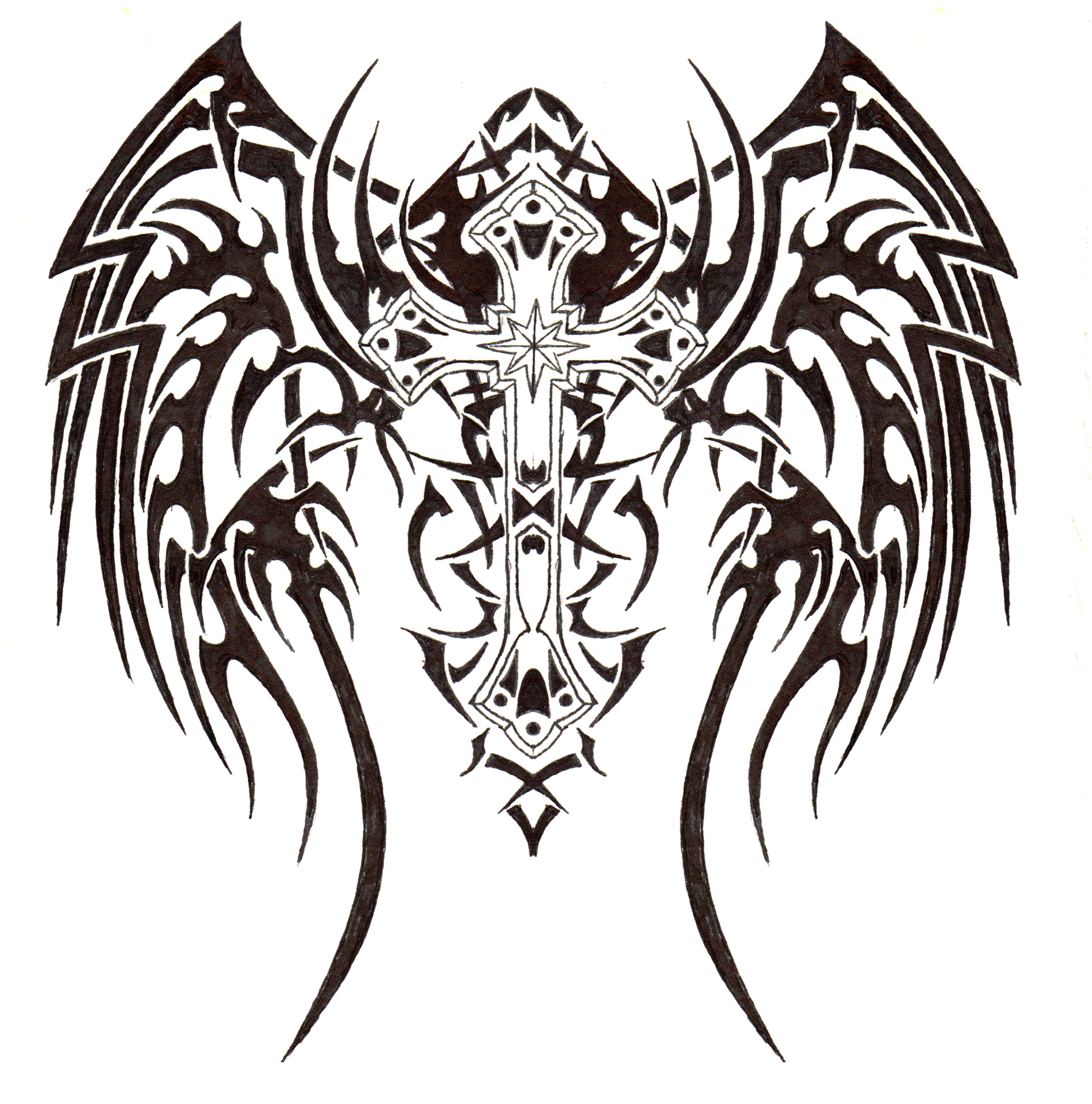 2443x2471 Tribal Cross W Angel Wings By Ens Prometheus 2d Monochromelack