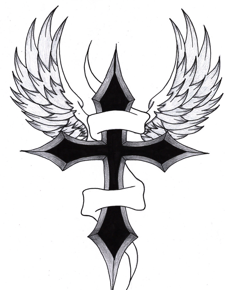 787x1015 Cross With Wings Art Tattoo