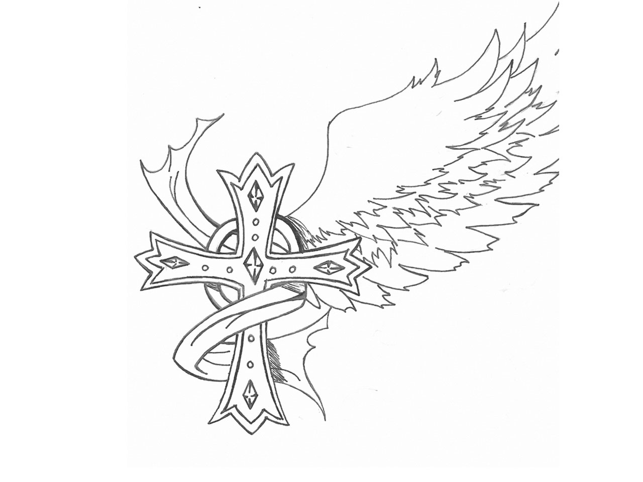 1280x960 Easy Drawings Of Crosses With Wings Free Designs
