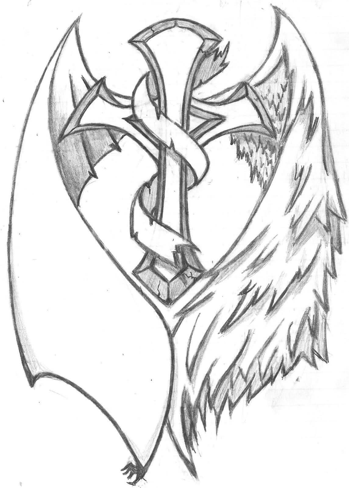 1145x1600 Black And Grey Cross With Wings Tattoo Design By Streadwelljr