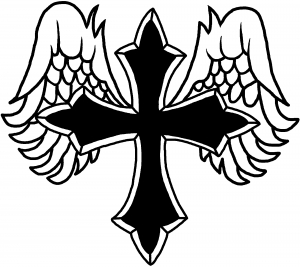 300x267 Christian Cross With Angel Wings Decal Car Or Truck Window Decal