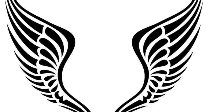 728x393 Collection Of Tribal Cross Angel Wings Tattoo Graphic