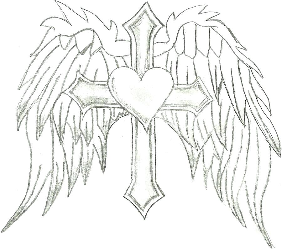 Cross With Wings Drawing at GetDrawings.com | Free for personal use ...