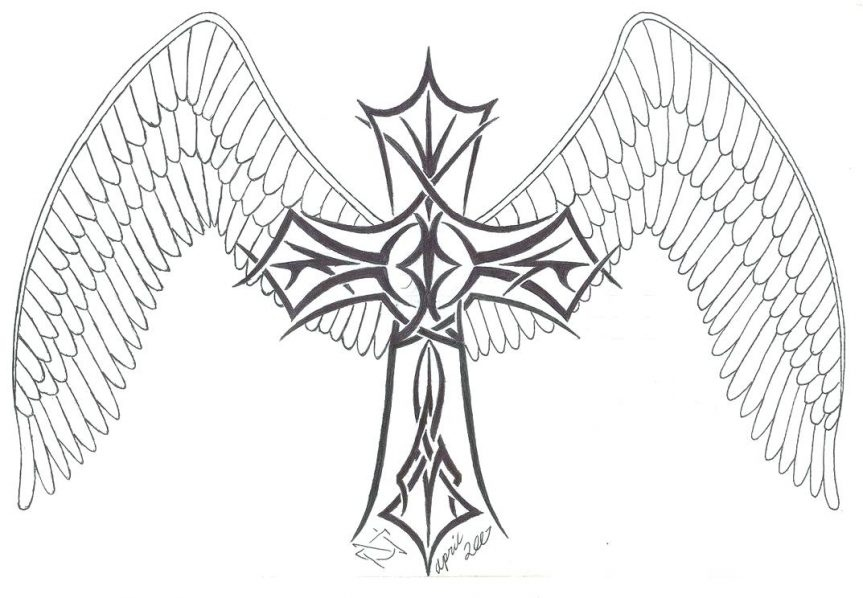 863x598 Coloring Pages Of Crosses With Wings